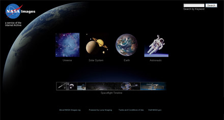 Screen Shot of NASA Imagery Library site